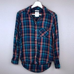 American Eagle Boyfriend Fit Plaid Flannel Top